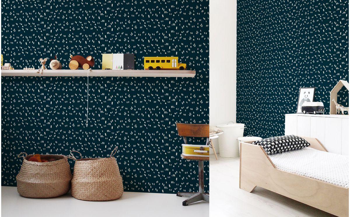 papier peint graphique bleu d co chambre enfant gar on. Black Bedroom Furniture Sets. Home Design Ideas