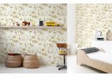 cute safari animals wallpaper mustard and yellow for children's room or baby nursery