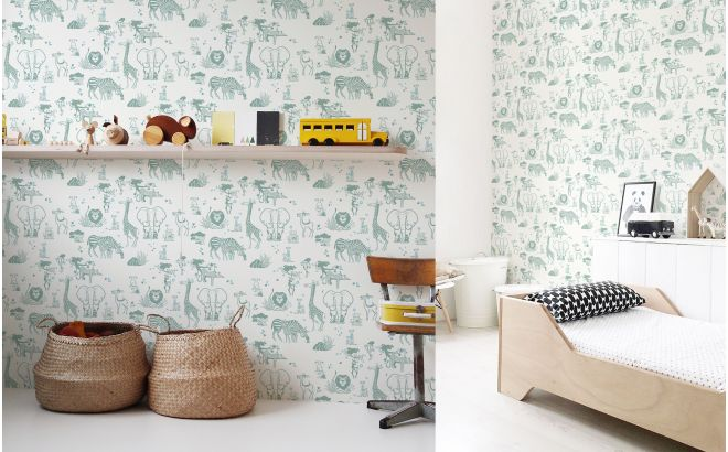 cute safari animals wallpaper green grey and blue for trendy boys room