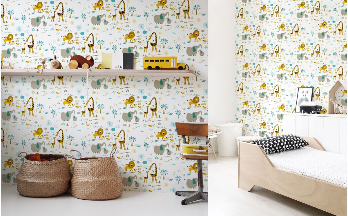Papier peint animaux jungle d co chambre b b - Papier peint chambre bebe ...