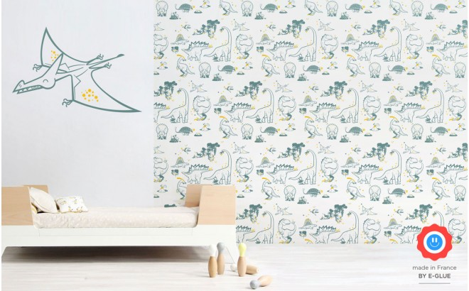 papier peint dinosaure et stickers décoratif pterodactyl bleu pour chambre enfant garçon