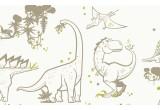papier peint dinosaure taupe et vert pour chambre garçon contemporaine