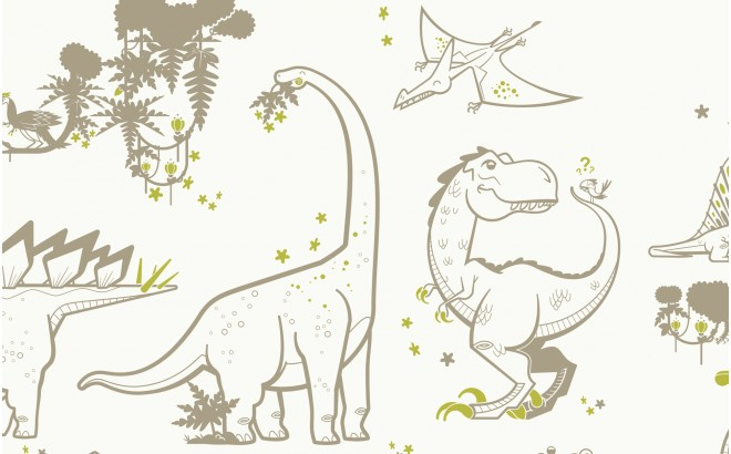 taupe and green dinosaur wallpaper for trendy boys room
