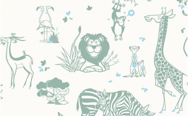 joli papier peint enfant animaux de la jungle gris vert et bleu pour chambre enfant garçon