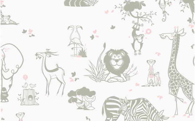 papel pintado infantil con lindos animales de la selva topo y rosa para habitaciones infantiles niñas