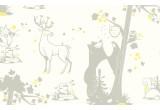 joli papier peint enfant animaux de la foret gris et jaune pour chambre enfant et bébé