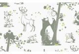 papel pintado infantil con lindos animales del bosque caqui y verde para habitaciones infantiles niños