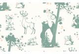 papel pintado infantil con lindos animales del bosque gris verde y rosa para habitaciones infantiles niñas