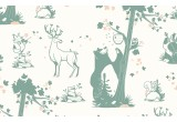 cute forest animals wallpaper green grey and pink for children's girls room