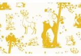 joli papier peint enfant animaux de la foret moutarde et gris pour chambre enfant et bébé