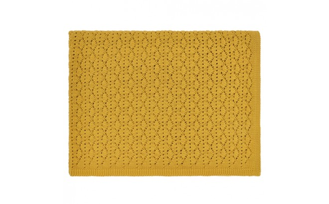 mustard yellow lace baby blanket by Rose in April