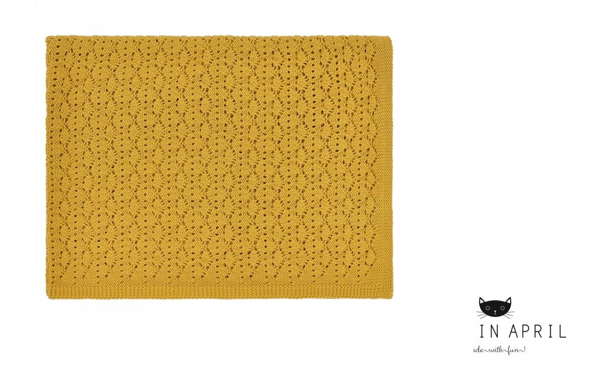 couverture dentelle jaune moutarde