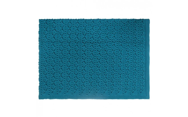 petrol blue lace baby blanket by Rose in April