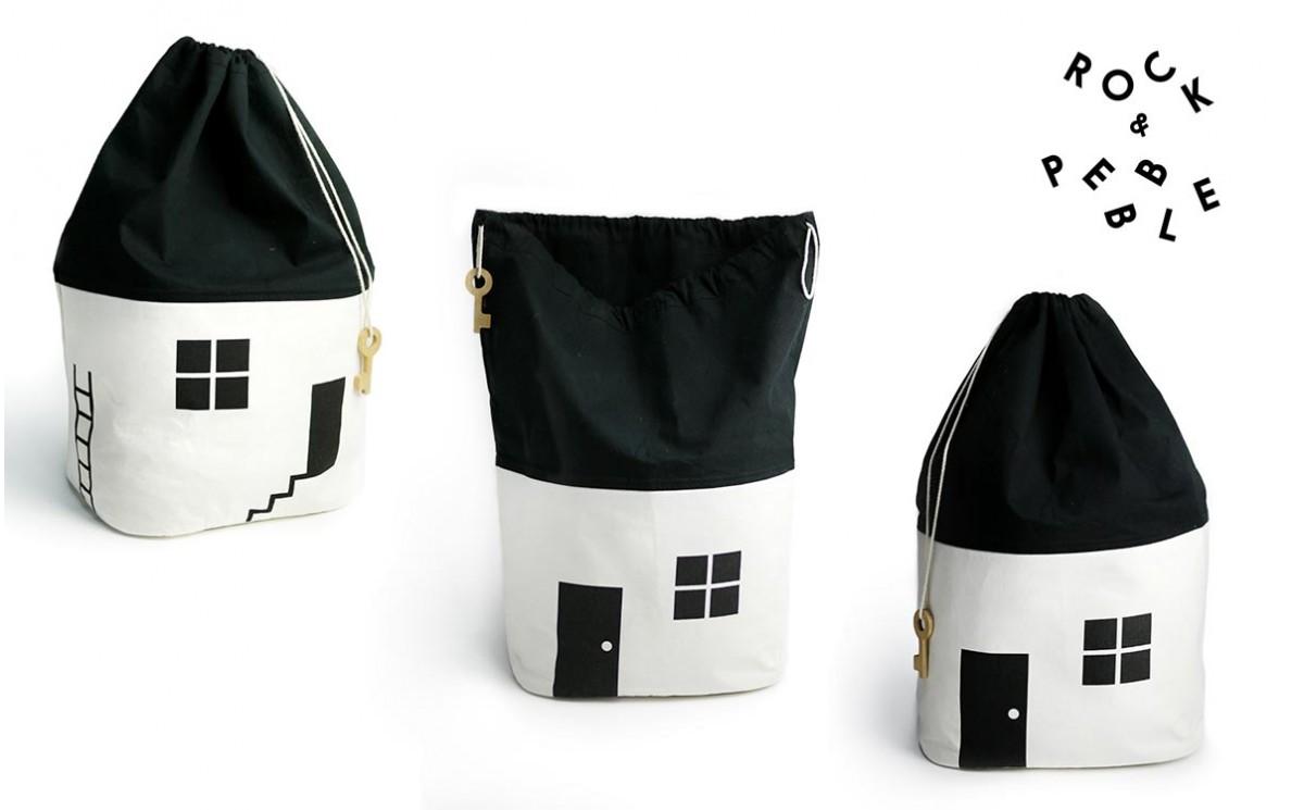 Sac Rangement Jouets Maison Grand Modele Noir Et Blanc Rock Pebble