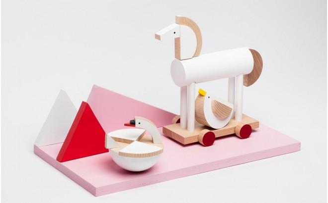 jouet cheval blanc en bois Ortus par Kutulu design