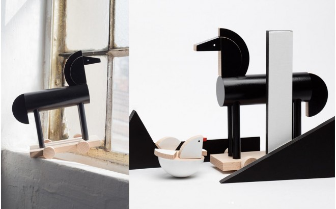 juguete caballo de madera negro Noxus por Kutulu design