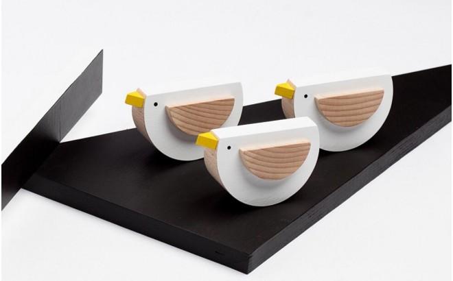 wooden white bird toy Pipa by Kutulu design
