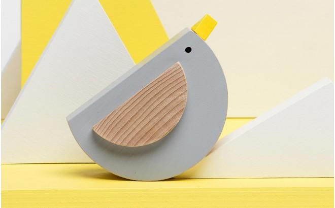 jouet oiseau gris en bois Pipu par Kutulu design