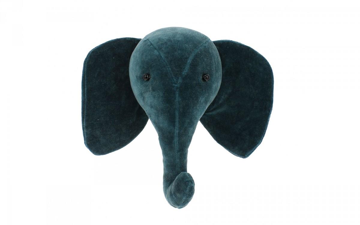 mini trophée mural tête d'éléphant velours bleu canard