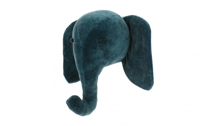 mini trofeo de pared elefante terciopelo azul pato por fiona walker