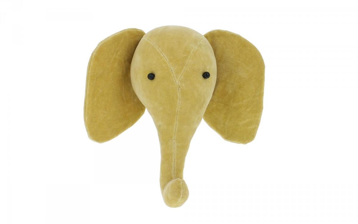 mini trophée mural tête d'éléphant velours jaune