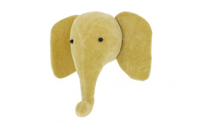 mini trophée mural tête éléphant velours jaune par fiona walker