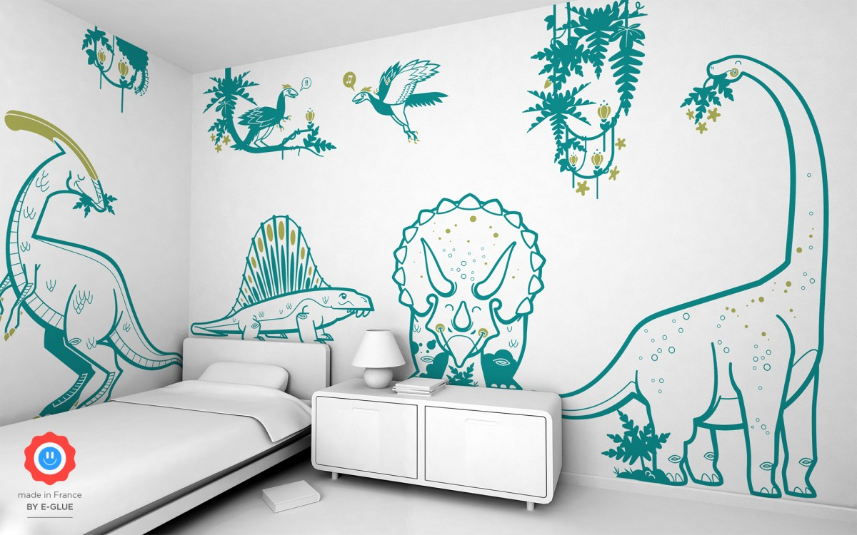 triceratops dino kids wall decals