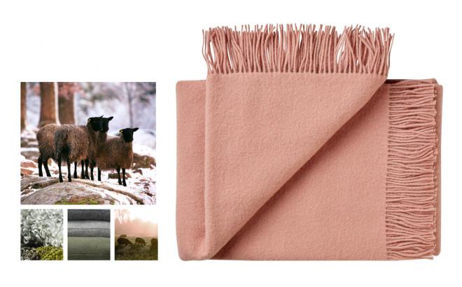 couverture enfant en laine scandinave rose doux