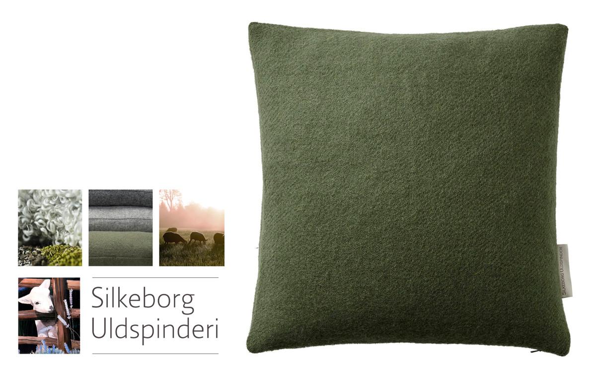 wool cushion for kids room (green)