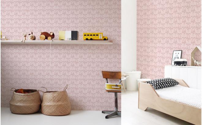 papel pintado infantil flamenco rosa para habitación infantil niña
