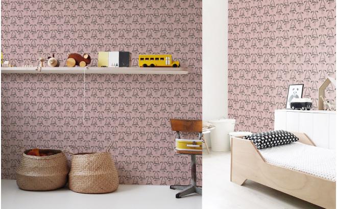 papier peint flamant vieux rose pour chambre enfant fille