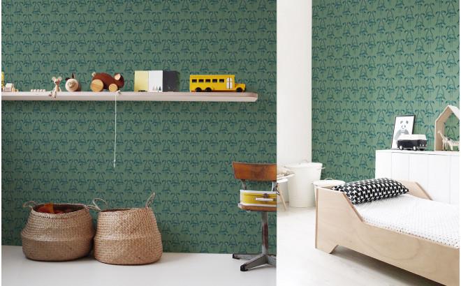 papier peint flamant vert sauge pour chambre enfant fille