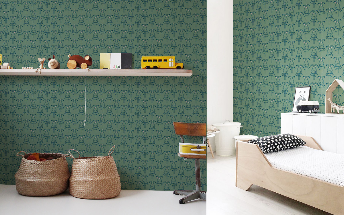 flamingo wallpaper sage green
