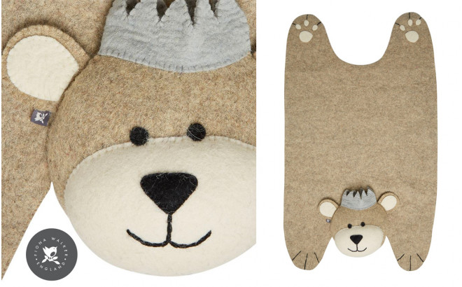felt bear with crown rug for kids by Fiona Walker