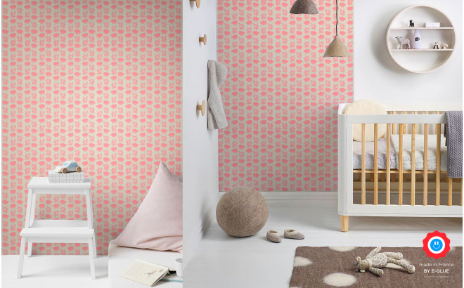 pink baby monkey wallpaper for kids room, baby girl nursery