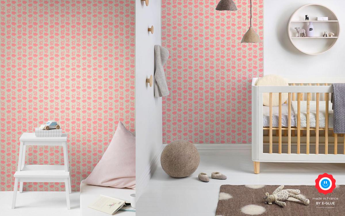 papel pintado mono bebé rosa