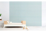 light blue baby monkey wallpaper for kids room, baby boy nursery