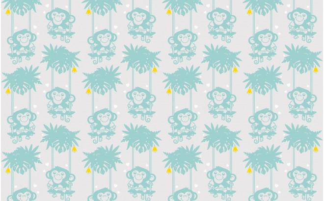 papel pintado bebé mono azul claro para habitación infantil, cuarto bebé niño