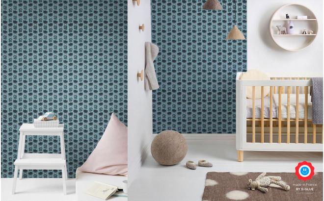 blue baby monkey wallpaper for kids room, baby boy nursery