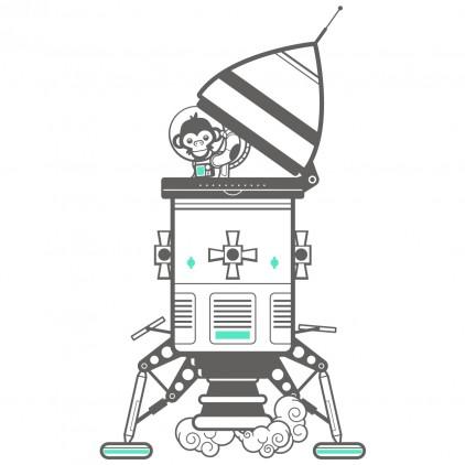 stickers enfant singes espace univers module atterrissage