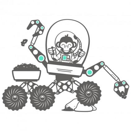 stickers enfant singes espace univers véhicule spatial