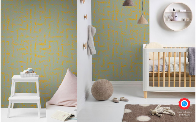 yellow african wallpaper for kids room, girls room or baby room nursery