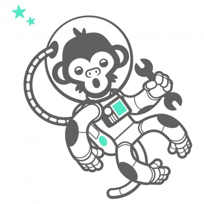 astronaut monkey outer space kids wall decals