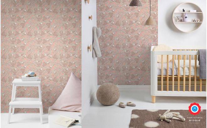 papel pintado infantil pájaros flores rosa para habitación infantil, cuarto bebé niña
