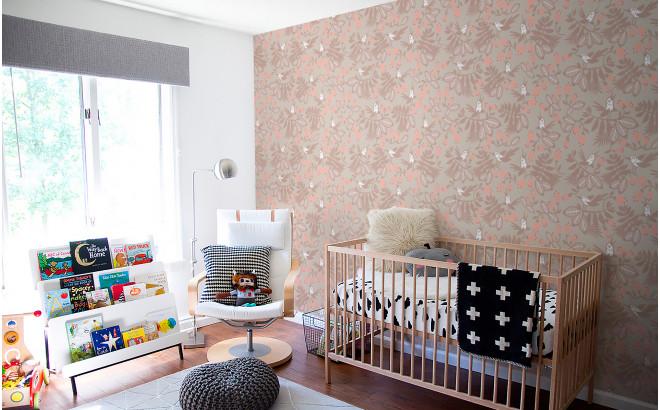pink flowers birds kids wallpaper for baby girl's room, nursery