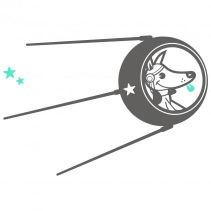vinilos infantiles espacio universo monos Laika el perro