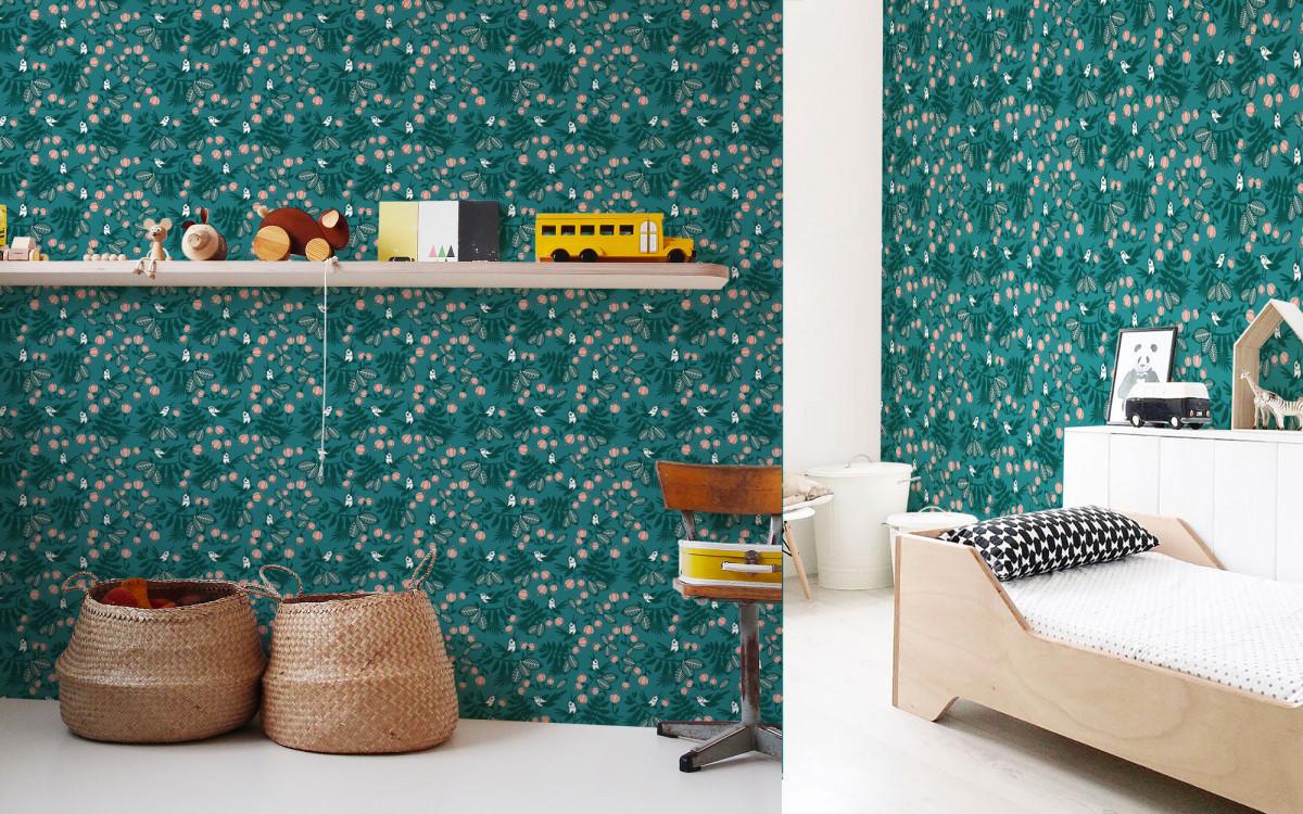 papier peint enfant oiseaux et fleurs turquoise