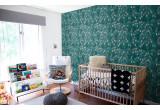 papel pintado infantil pájaros flores turquesa para habitación infantil, cuarto bebé
