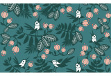 turquoise flowers birds kids wallpaper for children's room