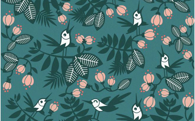 papier peint enfant oiseaux fleurs turquoise pour chambre bébé